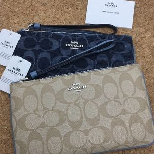 Two (2) Coach Large Wristlet Blue Khaki Denim